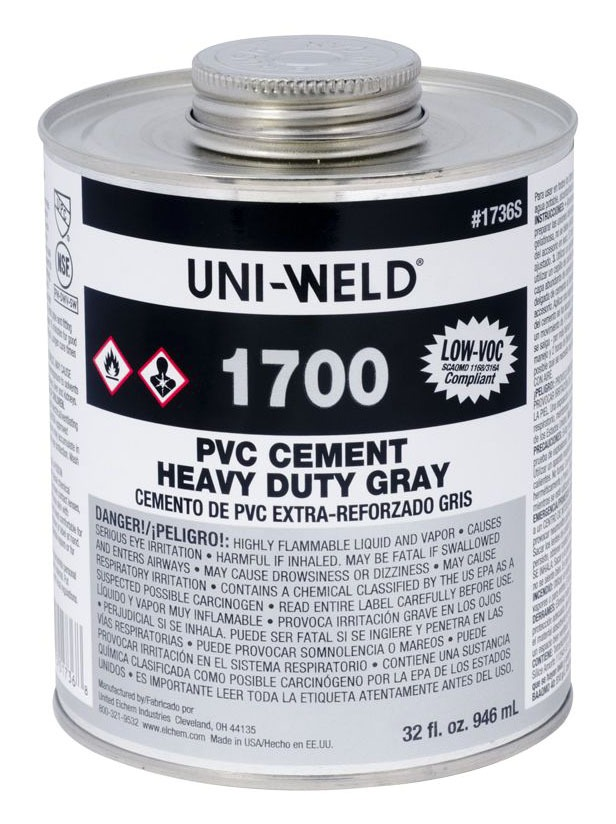 PVC Solvent Cement - UNI-WELD, Heavy Gray, 32 Oz Can