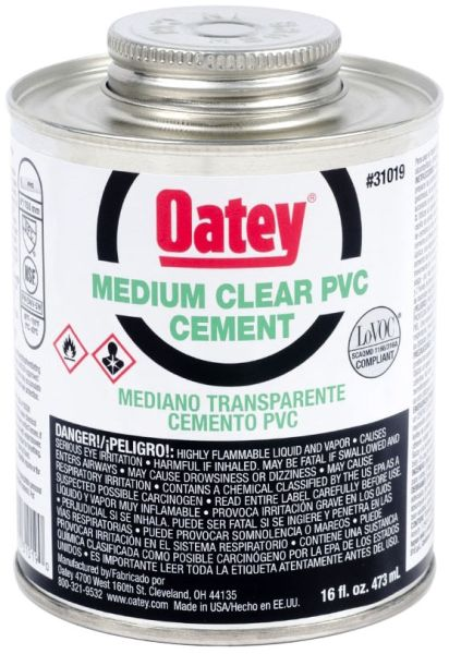 PVC Solvent Cement - Medium Clear, 16 Oz Can