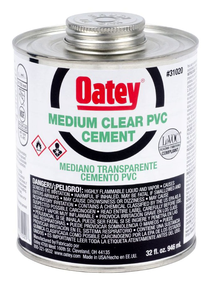 PVC Solvent Cement - Medium Clear, 32 Oz Can