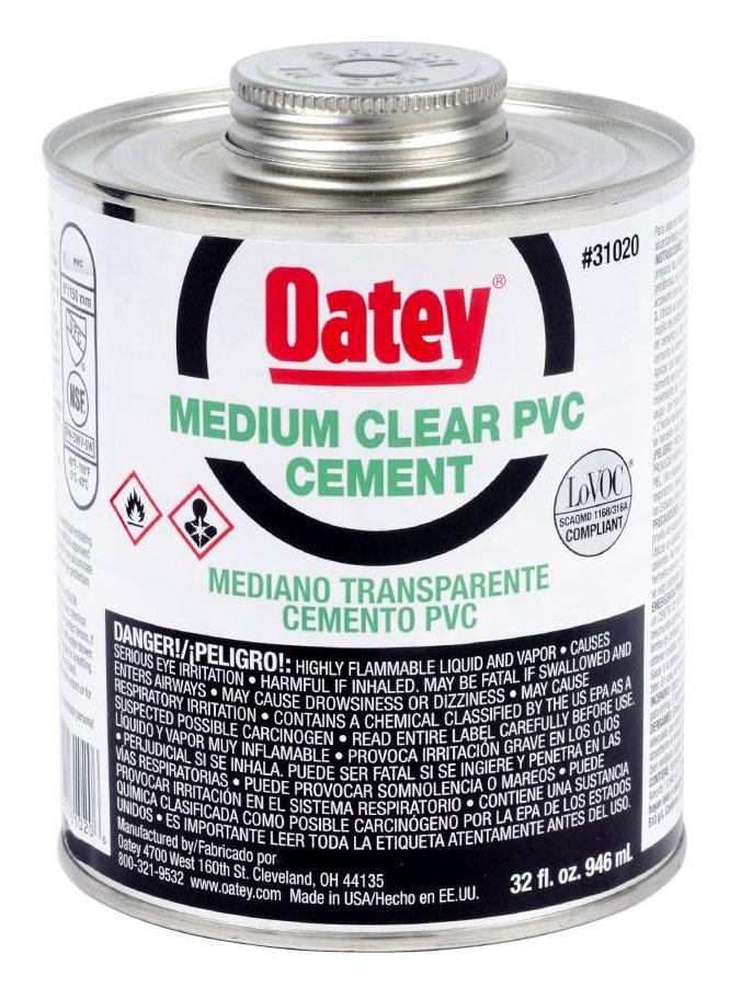 PVC Solvent Cement - Medium Clear, 32 Oz Can