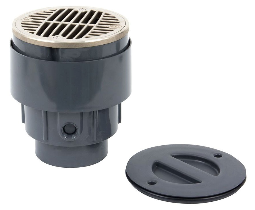 "3""/4"" Solvent Socket Floor Drain - True Set, On-Grade, PVC"