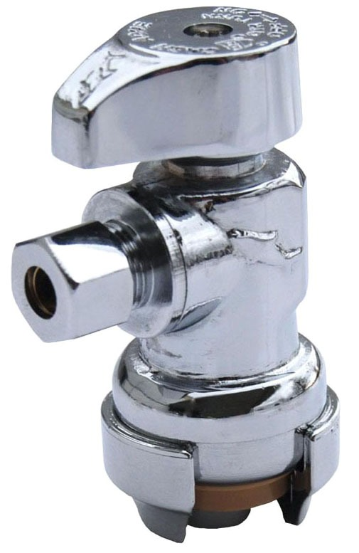 """1/2"""" x 1/4"""" Chrome Plated Copper Angle Stop - Compression, 200 psi"""