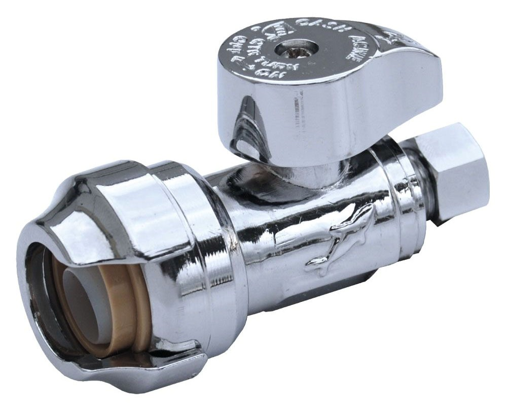 """1/2"""" x 3/8"""" Chrome Plated Brass Straight Stop - Compression, 200 psi"""