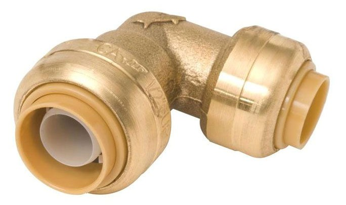 "1"" x 3/4"" DZR Brass 90D Reducing Elbow - Push-Fit"