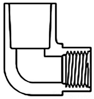 "1"" x 1/2"" PVC 90D Reducing Elbow - SCH 40, Socket x FPT"