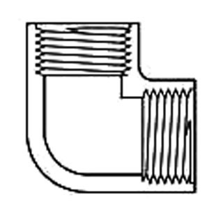 "1/2"" PVC 90D Straight Elbow - SCH 40, FPT"
