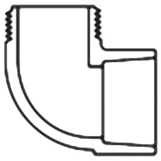 "1-1/4"" PVC 90D Straight Elbow - SCH 40, MPT x Socket, Street"