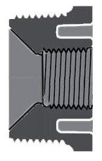 """4"""" x 2"""" CPVC Flush Reducing Bushing - SCH 80, MPT x FPT"""