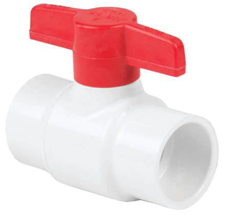"1-1/4"" PVC Full Port Ball Valve - 1/4 Turn T-Handle, Socket, 150 psi"