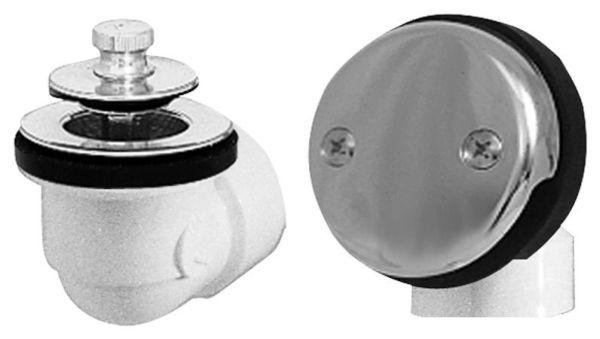 SCH 40 Bath Waste and Overflow Half Kit - PVC Uni-Lift Stopper with Chrome Plated Trim with Zinc Drain Unit
