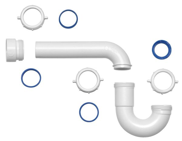 """1-1/2"""" x 1-1/2"""" White Polypropylene P-Trap - with Threaded PVC Adapter / Reversible J-Bend / True Blue Washer"""