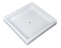 "36"" x 36"" 1-Piece Square Corner Shower Receptor - Saflor, White"