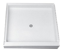 "60"" X 34"" 1-Piece Single Threshold Shower Receptor, White"
