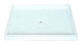 "60"" x 42"" 1-Piece Recessed Shower Base - White, Gel Coat, Molded Fiberglass"
