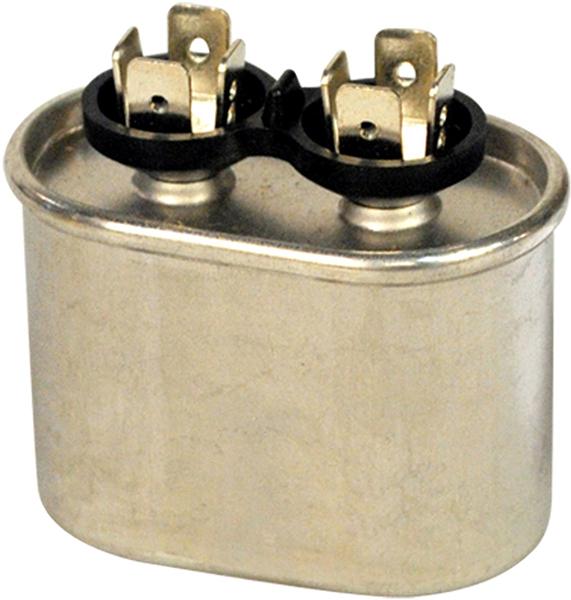 7.5 Microfarad 370 VAC Motor Run Capacitor - Blue Box, Aluminum, Oval