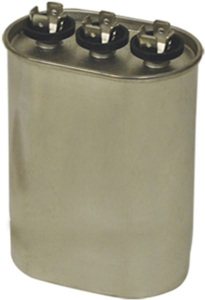 80/5 MFD Oval Dual Section Motor Run Capacitor, Steel