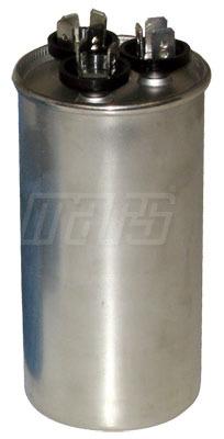 50/7.5 MFD Round Dual Section Motor Run Capacitor, Aluminum