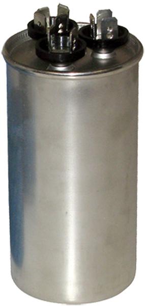 40/7.5 MFD Round Dual Section Motor Run Capacitor, Aluminum