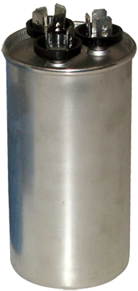 50/7.5 MFD Round Dual Section Motor Run Capacitor, Aluminum