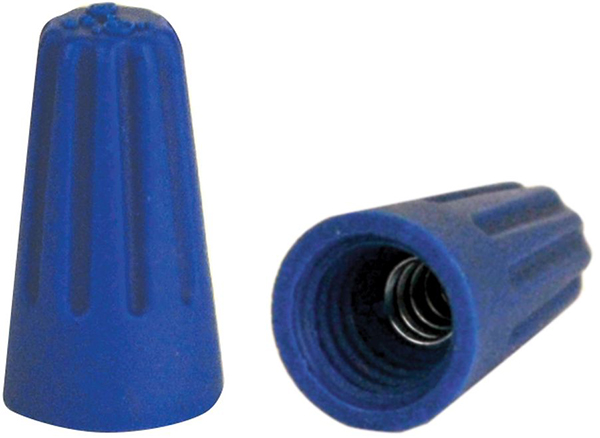 22 to 14 AWG Screw-On Wire Connector - Blue, Thermoplastic, 300 V