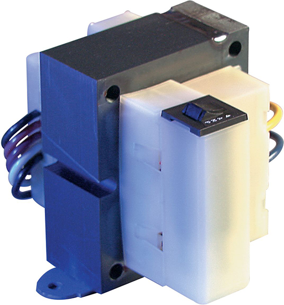 75 VA End Bell Control Transformer with Manual Reset - 120/208/240/480 V Primary / 24 V Secondary, Foot Mount