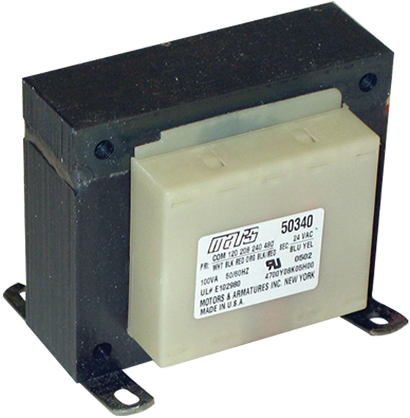 100 VA End Bell Control Transformer - 120/208/240/480 V Primary / 24 V Secondary, Foot Mount