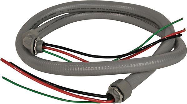 "1/2"" x 6' Non-Metallic Whip Assembly - Liquid Tight, Flexible, 10/3 THHN"