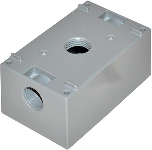 "1-Gang Weatherproof Outlet Box - 3/4"", 3-Hub, with Lug"
