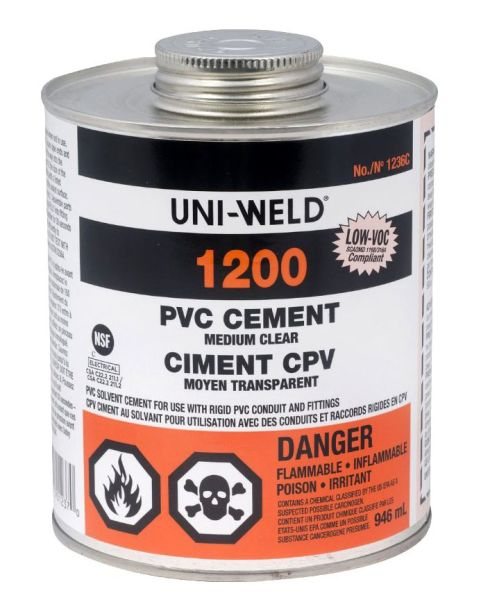 PVC Solvent Cement - UNI-WELD, Medium Clear, 32 Oz Can