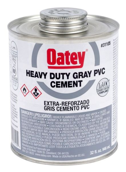 PVC Solvent Cement - Heavy Gray, 32 Oz Can
