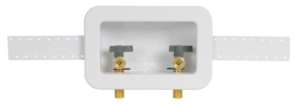 Center Drain Washing Machine Outlet Box - Centro II, with 1/4 Turn Valve, PVC