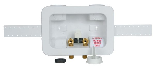 Left / Right Drain Washing Machine Outlet Box - 2X4 WMOB, with 1/4 Turn Valve, PVC