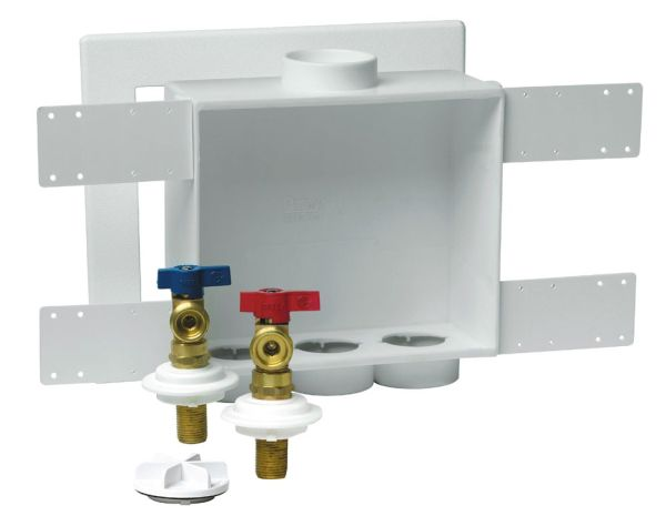 Left / Right / Center Drain Washing Machine Outlet Box - Quadtro, with 1/4 Turn Valve, High-Impact Polystyrene