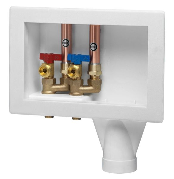 Right Drain Washing Machine Outlet Box - Eliminator, with 1/4 Turn Valve, High-Impact Polystyrene