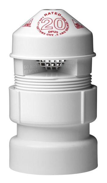 """1.5"""" to 2"""" 20 DFU Air Admittance Valve with 1-1/2"""" x 2"""" PVC SCH 40 Adapter - SURE-VENT"""
