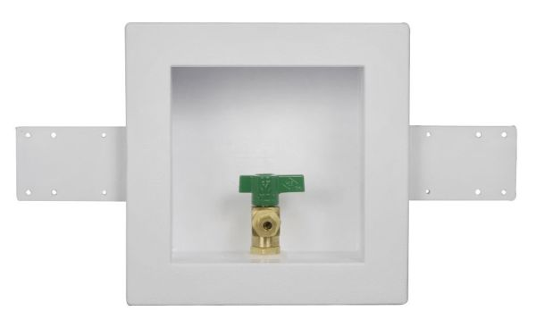 Square Ice Maker Outlet Box - with 1/4 Turn Valve, High-Impact Polystyrene