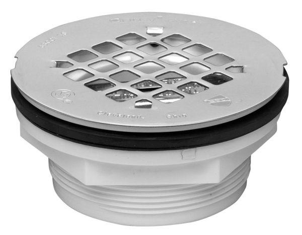 Round Shower Drain, White PVC