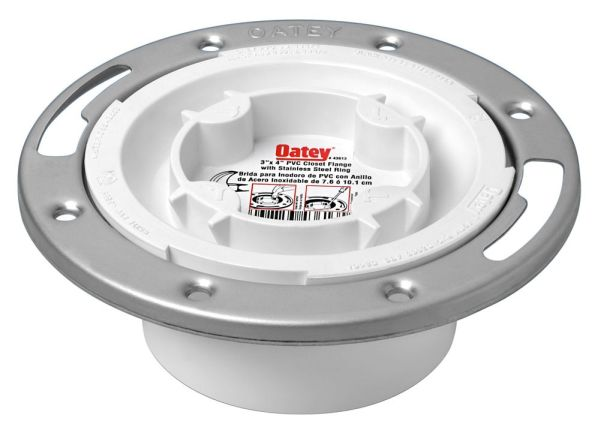 White PVC Closet Flange with Stainless Steel Ring - Easy Tap