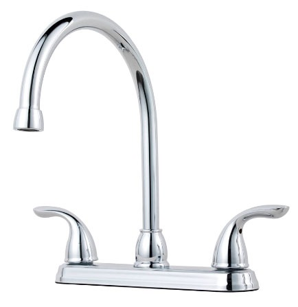 Kitchen Faucet with High-Arc Spout & Two Lever Handle - Pfirst Series, Polished Chrome, Deck Mount, 1.75 GPM