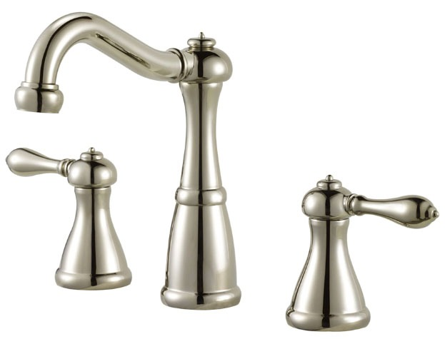 Bathroom Sink Faucet with High-Arc Spout & Two Lever Handle - Marielle, Polished Nickel, Deck Mount, 1.5 GPM