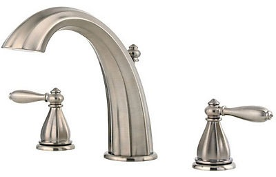 Tub Faucet with High-Arc Spout & Two Lever Handle - Portola, Brushed Nickel, Deck Mount, 15 to 18 GPM
