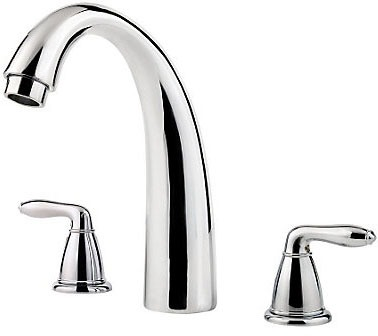 Tub Faucet with Decorative Arc Spout & Two Lever Handle - Serrano, Polished Chrome, Deck Mount, 15 to 18 GPM