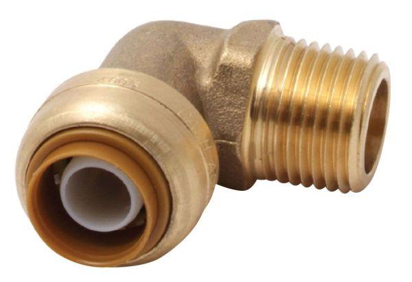 """1/2"""" DZR Brass 90D Straight Elbow - Push-Fit x MPT"""