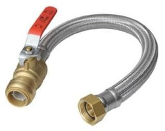"1/2"" x 3/4"" FPT Flexible Water Heater Connector - EPDM, Braided, with Ball Valve"