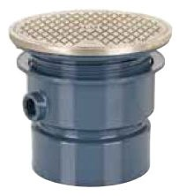 """3"""" Hub Adjustable Cleanout - PVC, SCH 40, with Round Nickel Bronze Ring and Cover"""