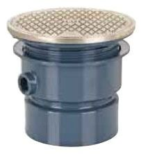 """4"""" Hub Adjustable Cleanout - PVC, SCH 40, with Round Nickel Bronze Ring and Cover"""