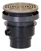 "4"" Hub Floor Drain - FinishLine, Adjustable, Round Top, PVC"