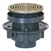 "3"" Hub Flashing Drain - FinishLine, Adjustable, Round Top, PVC"