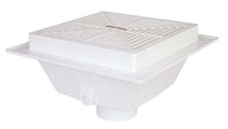 "2"" Square Bottom Outlet Floor Sink, PVC"