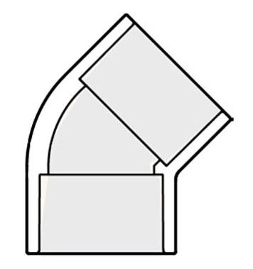 """3/4"""" PVC 45D Straight Elbow - SCH 40, Socket, Short Radius"""